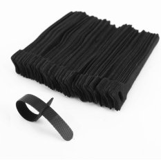 100X Black Velcro Cable Ties Wire Cord Straps Reusable Hook Loop Pc Tv Organizer Intl Diskon Tiongkok