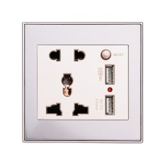 10A Universal Dual USB Dinding Soket Panel AC 110-265 V Outlet Power Charger dengan Switch Emas-Intl