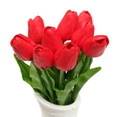 10 Buah Bunga Tulip Buatan Getah Asli Karangan Bunga Pernikahan Pengantin Dekorasi Sentuhan Rumah Merah