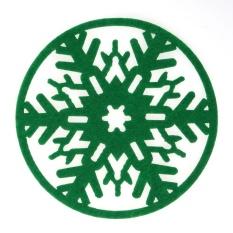 10 Pcs Natal Kepingan Salju Alas Cangkir Meja Jamuan Makan Coasters (Hijau)-Intl
