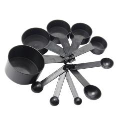 10 buah sendok ukur plastik cangkir set peralatan ukur untuk kue kopi hitam