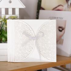 10 Pcs/set Romantis Pernikahan Undangan Kartu Halus Diukir Bunga Kecil Floral Pola Hollow Keluar