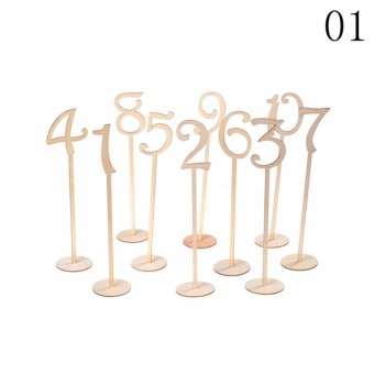 10pcs Wooden Table Stand Numbers Stick Set+Base 1-10/11-20