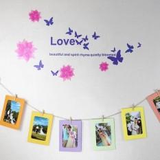 10X DIY Film Hanging Wall Picture Kertas Foto Album Kraft Frame + Tali + Klip Set