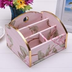 11.6 × 15 × 17.3 Cm Kotak Penyimpanan Kreatif PU Kotak Penyimpanan Meja Finishing Box Kosmetik Kotak Penyimpanan Desktop, Pink Peony-bronzing Wallpaper--Intl