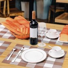12*18 Inci PVC Tahan Panas Plaid Woven Tatakan Tahan Noda Anti-skid Washable Meja Makan Mats Placemats-Set dari 4 Black-Intl