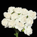 Harga 12 Bundel 144 Cabang Simulasi Mini Petite Kertas Buatan Mawar Kuncup Bunga Putih New