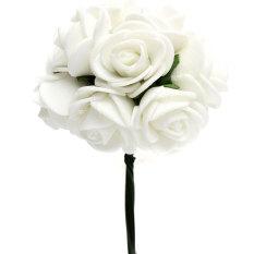 12 X Busa Mawar Bunga Buatan Kerajinan Hiasan Dekorasi Pesta Pernikahan Pengantin Buket Bunga Putih