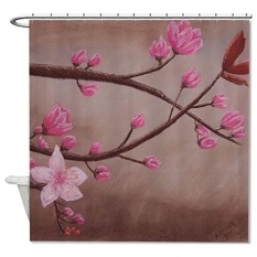 Promo 120X180Cm Cherry Blossom Pastel Drawing Bathroom Shower Curtain Waterproof Intl