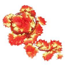 12 Pcs 2.4 M Buatan Buatan Red Maple Leaf Daun Garland Tanaman Anggur Palsu Dedaunan Bunga