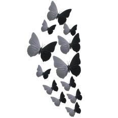 12 Buah 3D Kulkas Fotografi Pernikahan These Butterflies Dinding Jantung (Hitam) (International)