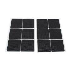 12 Pcs Non-slip Self Adhesive Pelindung Lantai Furniture Sofa Meja Kursi Kaki Karet Pads (Hitam) -Intl