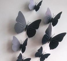 12 Pcs Mensimulasikan 3D Kupu-kupu Dinding Stiker dengan Magnet Elegan Colourful Hiasan Dinding Mural untuk Kulkas Komputer Televisi Backdrop Dinding ruang Tamu Kamar Tidur Spesifikasi: murni Hitam