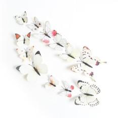 12 Pcs Mensimulasikan 3D Kupu-kupu Dinding Stiker dengan Magnet Elegan Colourful Hiasan Dinding Mural untuk Kulkas Komputer Televisi Backdrop Dinding ruang Tamu Kamar Tidur Spesifikasi: murni Putih
