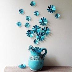 12 Pcs/set 3D DIY Bunga Wall Stick Dekorasi Rumah Stiker Cermin Dinding Stiker