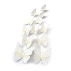 12x 3D Butterfly Wall Sticker Kulkas Magnet Bentuk Putih-Intl