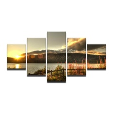 12x16inx2 12x24inx2 12x32inx1 Beach Ocean Sunset Tanaman Bunga Shore Coast Gelombang Laut Sky Awan Lanskap Hills Cloth Silk Art Wall Poster dan Cetakan (Bingkai) -Intl