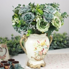 13 Kepala Oil Painting Hibiscus Rose Simulasi Bunga Sutra Bunga Retro Eropa Flower furniture Dekorasi dengan Bunga-Intl