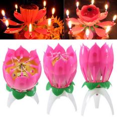 Bunga Lotus Musik Lampu Happy Lilin Ulang Tahun Kue Topper Hadiah Pesta Dekorasi-Intl