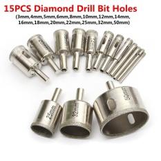 15 Pcs 3mm-50mm Diamond Lubang Mata Bor Gergaji Pemotong Alat untuk Kaca Marmer Granit-Intl