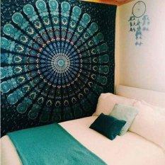 150cmx130cm Boho Wall Carpet Tapestry Mandala Tapestry Crystal Arrays Blue Wall Art Tapestry Indian Decoration Blanket