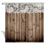 Beli 150X180Cm Barnwood White Lace Country Bathroom Shower Curtain Waterproof Intl Tiongkok