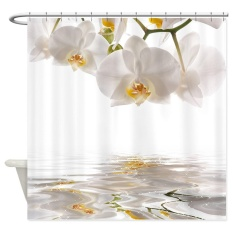 Diskon 152X182 Cm Cantik Anggrek Putih Refleksi Air Bath Shower Curtain Tahan Air Intl Oem