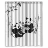 Spesifikasi 152X183Cm Cute Panda Waterproof Polyester Fabric Bathroom Fabric Shower Curtain Bathroom Decor Intl Baru