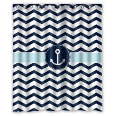 Toko 152X183 Cm Navy Biru Dan Putih Chevron Dengan Nautical Anchor Pattern Kamar Mandi Shower Tirai Shower Rings Termasuk 100 Polyester Intl Murah Di Tiongkok