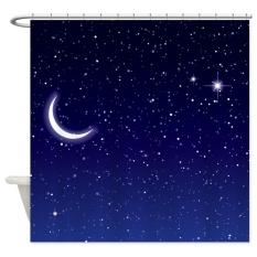 Harga 165X180 Cm Langit Malam Dengan Bulan Dan Bintang Kamar Mandi Shower Tirai Tahan Air Intl Oem Terbaik