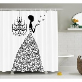 Review 165X183 Cm Kupu Kupu Putri Retro Parisienne Chic Girls Bath Shower Curtain 100 Polyester Waterproof Fabric Curtain Intl Tiongkok
