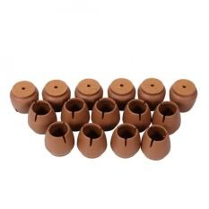 16 Pcs/pack Furniture Meja Kursi Tongkat Kaki Round Caps Covers Pelindung Lantai (Kopi)-Intl
