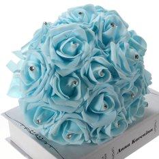 17 X Busa Mawar Buatan Kerajinan Hiasan Pesta Pernikahan Buket Bunga Pengantin Dekorasi Biru