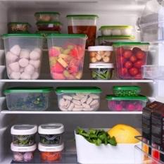 17 Pcs Tertutup Rak Kulkas Plastik Makanan Penyimpanan Kotak Wadah Pelestarian Dapur Persediaan (Hijau)-Intl