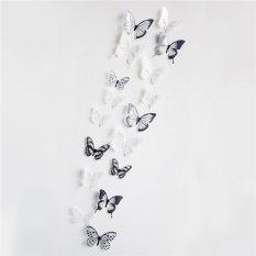 18 Pcs/set 3D Butterfly Dekorasi Decals Kulkas Wall Stiker Kristal-Internasional