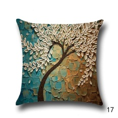 Jual 18 Vintage Linen Cotton Cushion Cover Throw Pillow Case Sofa Home Decor 3D Oil Painting Tree Pattern Design 17 Intl Murah