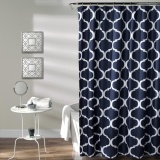 Promo 183X183 Cm Navy Lush Decor Geo Bath Shower Curtain Tahan Air Intl Murah
