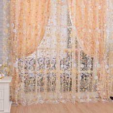 1 Pcs 1*2 M Floral Pola Offset Blinds Window Screen Ready Made Curtains Kuning