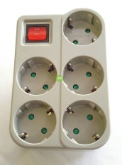 Miliki Segera 1Pcs Uticon Stop Kontak Steker Arde 5 Lubang Multisocket Saklar 1 Switch 5In1 Pengaman Socket Abu Abu