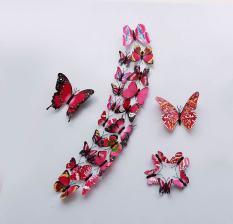 Miliki Segera 1 Set 24 Buah Desain Warna Warna Warni Seni Pvc 3D Butterfly Wall Stiker Magnet Plastik Warna Warni Naik Merah Intl