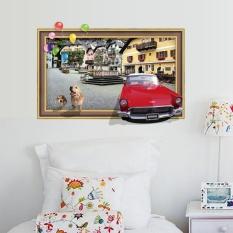 1 Set Stiker Dinding Dapat Dilepas 3D Palsu Jendela Mobil Anjing Di Thestreet untuk Ruang Keluarga Dekorasi Stiker Dinding untuk Kamar Tidur SK7050- internasional