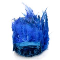 Kualitas 91 M Ayam Hackle Bulu Jumbai Hiasan Topi Wanita Bahan Kerajinan Menjahit Kostum Biru Tua Internasional Oem
