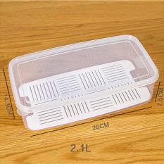 2.1L Transparan Rectangle Tertutup Rak Kulkas Plastik Kotak Penyimpanan Makanan Kotak Wadah Pelestarian Kebutuhan Dapur 26x14.3x7.5 CM-Intl