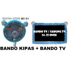 2 in 1 BANDO KIPAS + BANDO TV ( KIPAS , TV ) Karakter DORAEMON Biru  Aksesoris KIPAS + Aksesoris TV  / Sarung KIPAS + Sarung TV / Bandana KIPAS + Bandana TV