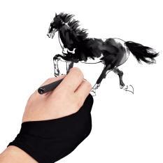 Harga 2 Pasang Profesional 2 Jari Artis Tablet Menggambar Sarung Tangan Anti Fouling Untuk Grafis Tablet Menggambar Pena Layar Ukuran M Hitam Intl Asli Oem