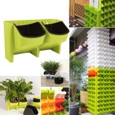 Spesifikasi 2 Pocket Stackable Home Garden Wall Hanging Vertikal Pot Bunga Succulents Planter Hijau Oem Terbaru