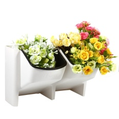 Pusat Jual Beli 2 Pocket Stackable Home Garden Wall Hanging Vertical Flower Pot Succulents Planter White Intl Indonesia
