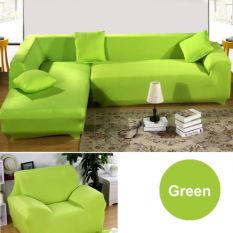 2 Seater L Bentuk Kursi Empuk Stretch Sofa Sofa Melindungi Cover Slipcover Hijau