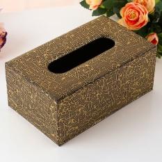 20 × 12 × 8.5 Cm Eropa PU Handuk Kertas Kotak Leather Pumping Karton Home Hotel, Akar Hitam-Medium-Intl