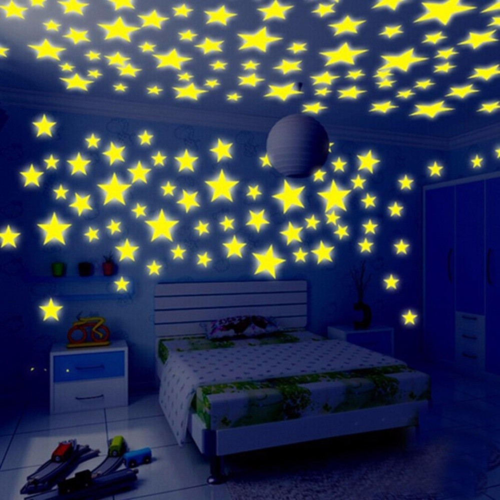 200 Pcs/set Kamar Tidur Glow In The Dark Stiker Dinding Bintang Seni 3D Wallpaper Home Kitchen Room Bed-Intl